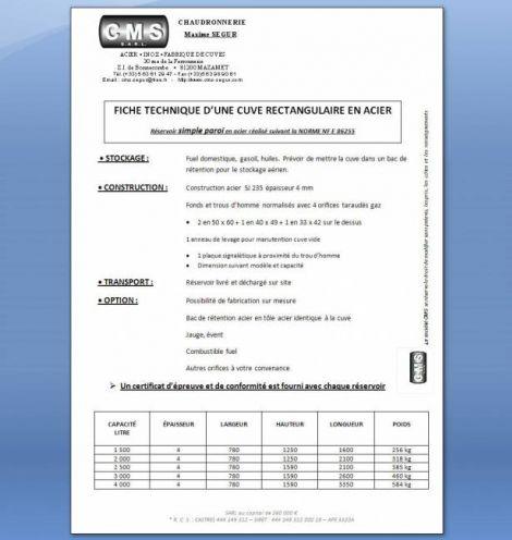 CUVE RECTANGULAIRE SP en acier (norme NF E 86255)